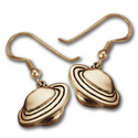 Planet Saturn Earrings in 14k Gold