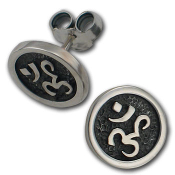 Om Stud Earrings in Sterling Silver