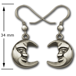 Moon Earrings in Sterling Silver