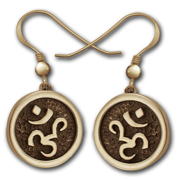 Om Earrings in 14k Gold