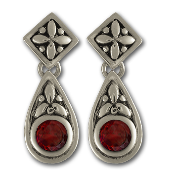 Garnet Drop Earrings in Sterling Silver
