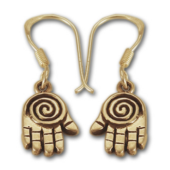 Spiral Hand Earrings in 14k gold