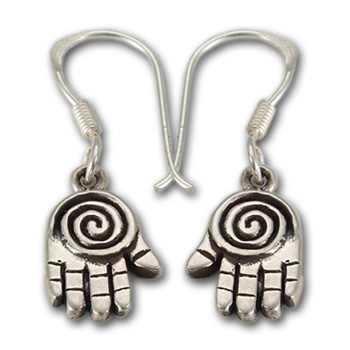 Spiral Hand Earrings in Sterling Silver