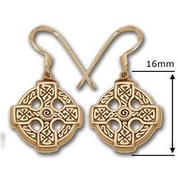 Celtic Cross Earrings in 14k Gold