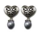 Heart Shaped Earrings w/ Black Pearl in Sterling Silver