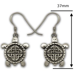Celtic Turtle Earrings in Sterling Silver