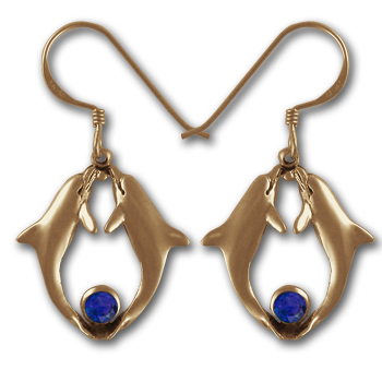 Delightful Dolphin Earrings in 14k Gold