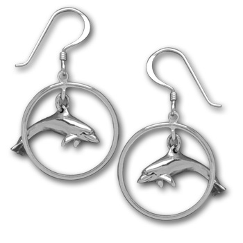 Dolphin Earrings in Sterling Silver