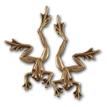 Tree Frog Earrings in 14k Gold
