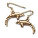 Dolphin Earrings in 14k Gold