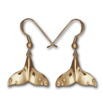 Whale Tail Earrings in 14k Gold