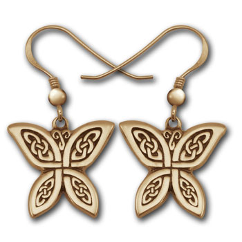 Celtic Butterfly Earrings in 14k Gold