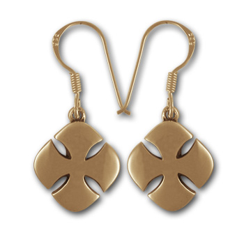 Crusaders Cross Earrings in 14k Gold