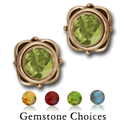 Gemstone Stud Earrings in 14K Gold