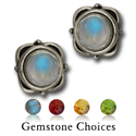 Gemstone Stud Earrings in Sterling Silver