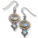 Moonstone Earrings in Silver and Gold