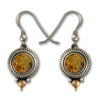 Gemstone Earrings in Silver and Gold