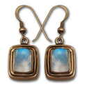 Rainbow Moonstone Earrings in 14k Gold