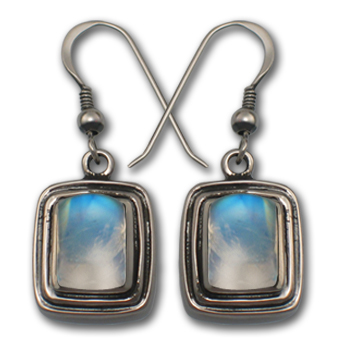 Rainbow Moonstone Earrings in Sterling Silver