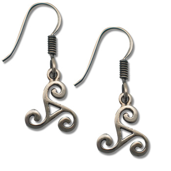 Triskele Earrings in Sterling Silver