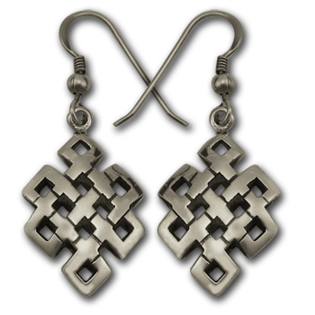 Tibetan Knot Earrings in Sterling Silver