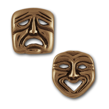 Comedy Tragedy Studs in 14k Gold