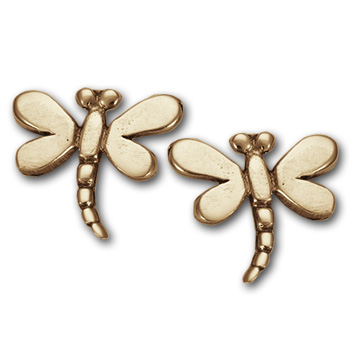 Dragonfly Stud Earrings in 14k Gold