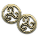 Triskele Stud Earrings in 14k Gold