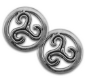 Triskele Stud Earrings in Sterling Silver