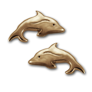 Dolphin Stud Earrings in 14k Gold