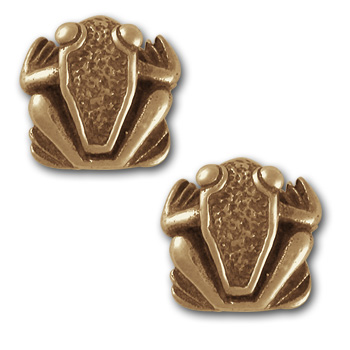 Frog Stud Earrings in 14k Gold