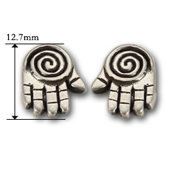 Spiral Hand Stud Earrings in Sterling Silver