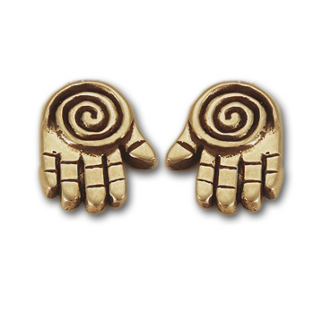 Spiral Hand Stud Earrings in 14k gold