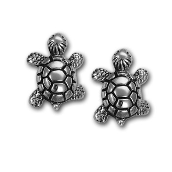 Turtle Stud Earrings in Sterling Silver