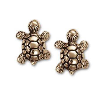 Turtle Stud Earrings in 14k gold