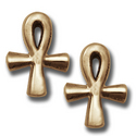 Ankh Stud Earrings in 14k Gold
