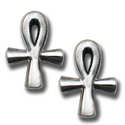 Ankh Stud Earrings in Sterling Silver