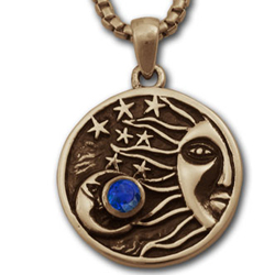 Sun, Moon & Stars Pendant in 14k Gold