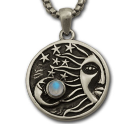 Sun, Moon & Stars Pendant in .925 Sterling Silver