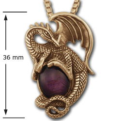 Dragon Pendant w/ Ruby Star in 14k Gold