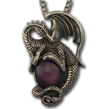 Dragon Pendant w/ Ruby Star in Sterling