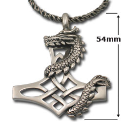 Dragon Pendant on Thors Hammer in Sterling