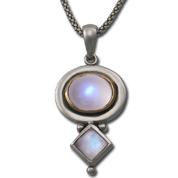 Moonstone Pendant in Silver & Gold