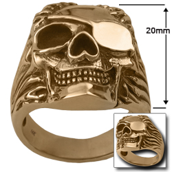 Pirate Skull Ring in 14k Gold