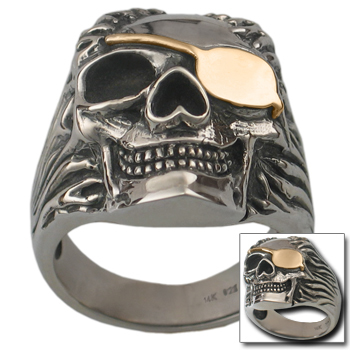 Pirate Skull Ring in Sterling w/ Gold Patch