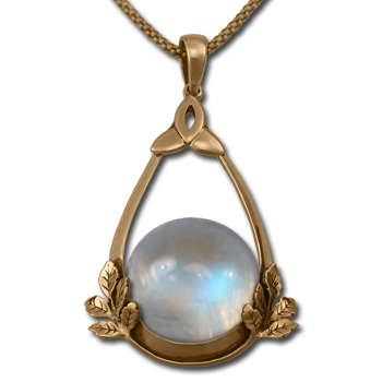 Moonstone Vine Pendant in 14k gold