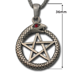 Ouroboros Pendant w/ Pentacle in Sterling Silver