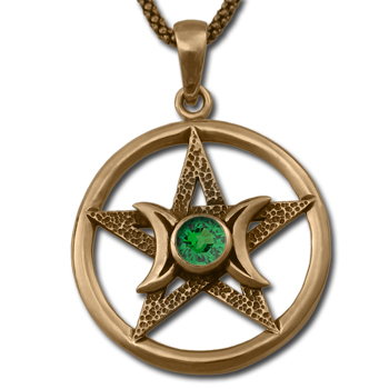Pentagram Moon Pendant in 14k Gold