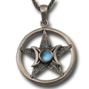 Pentagram Moon Pendant in Sterling Silver