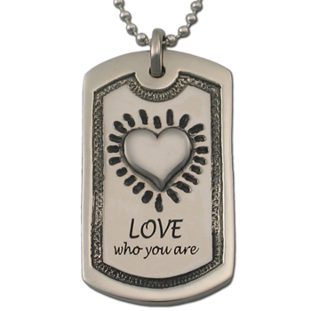 Love Who You Are Dog Tag in Pewter
